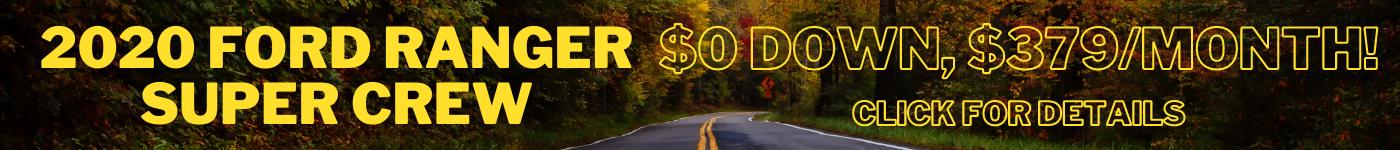 2020 Ford Ranger Super Crew $0 Down, $379/month