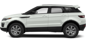 A Land Rover Range Rover Evoque that is an off-white color with a black trim and no background