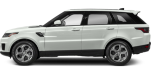 A Land Rover Range Rover Sport that is an off-white color with a black trim and no background