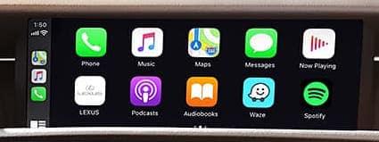 Lexus RC Apple CarPlay interface