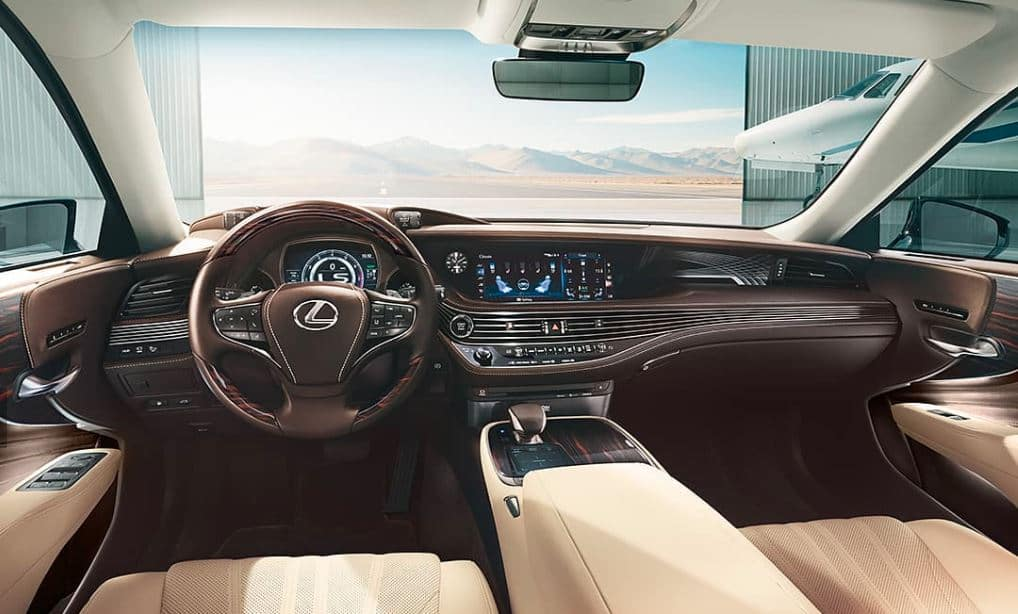 Lexus LS 2019 dashboard showing technology features including Lexus+Alexa interface