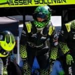 Lexus Racing Vasser Sullivan team in the pits Laguna Seca