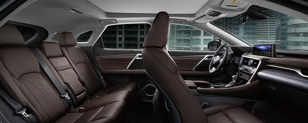 Cross-section view of 2020 Lexus RX 350 interior with tan seats