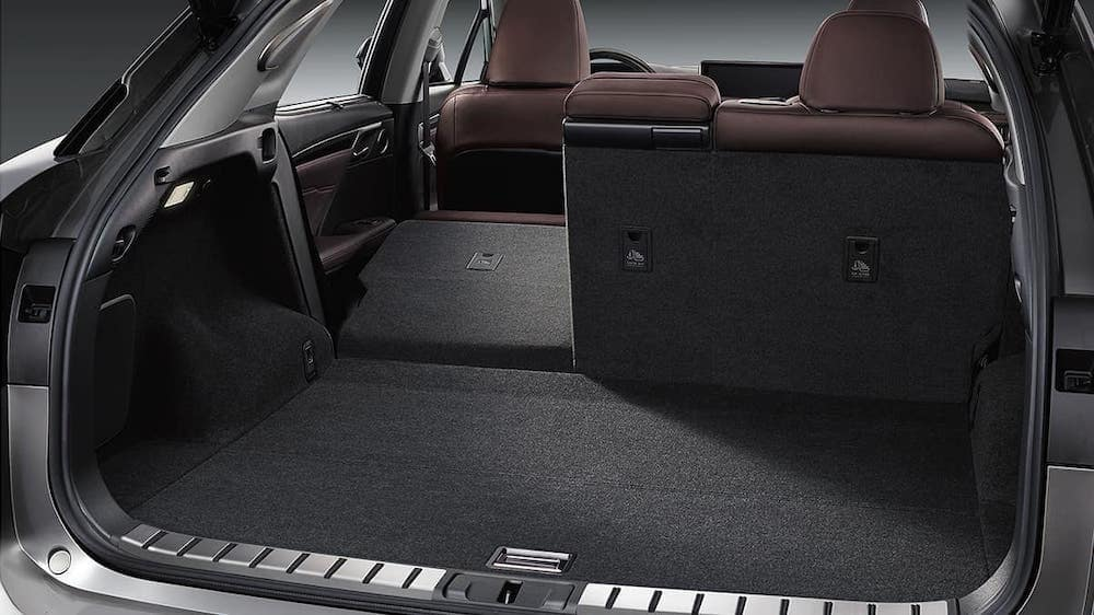 2020 Lexus RX 350 interior cargo space in trunk with split fold seats