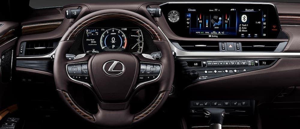 Tan interior wheel and dashboard of 2020 Lexus ES