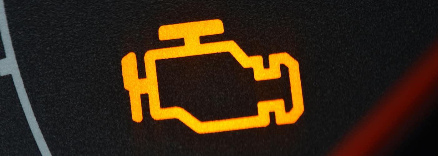 lit check engine light close up