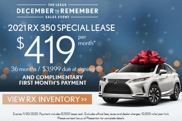 2021 RX 350 FWD December to Remember Special Lease