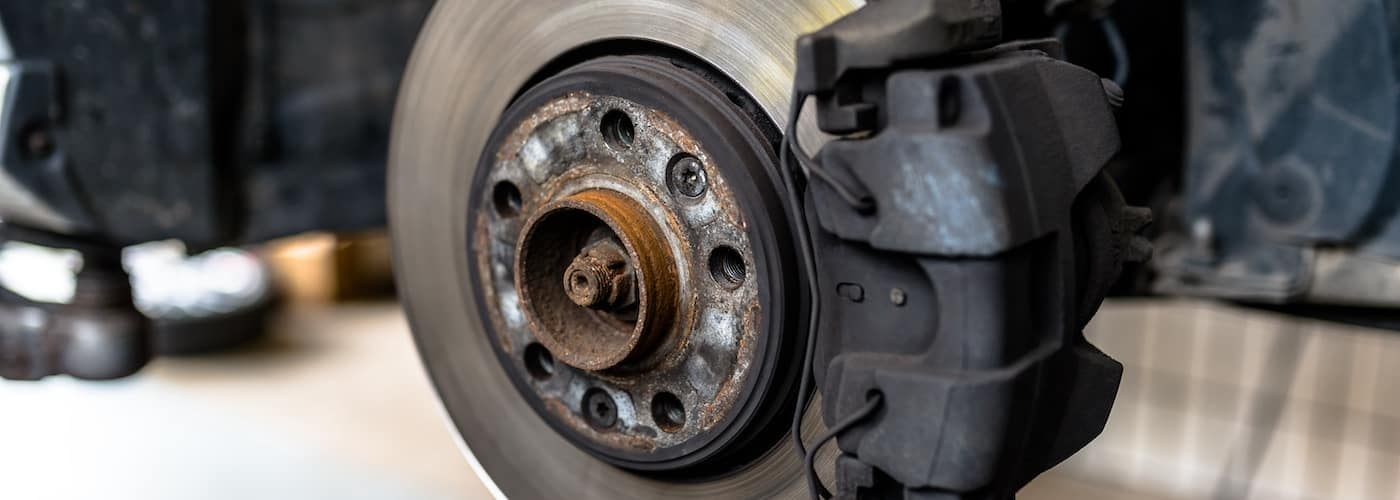 close up of brakes