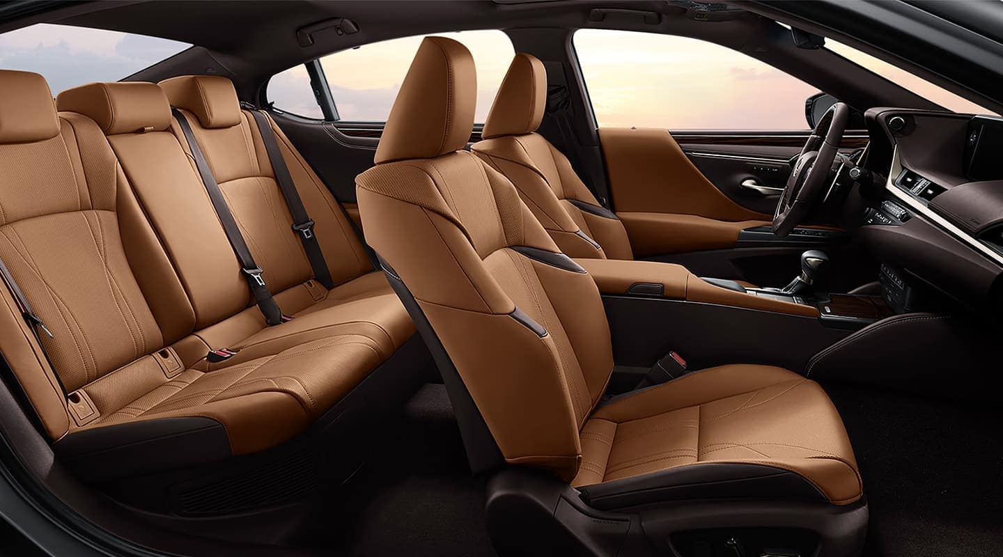 interior shot of brown leather