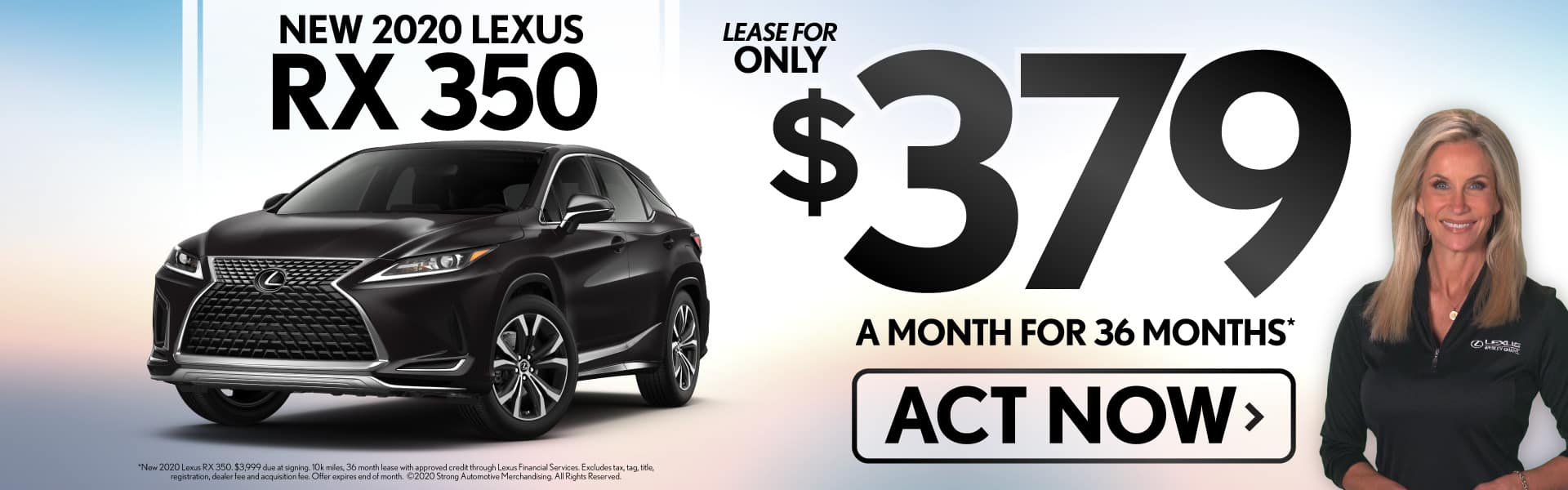 Alt Text: New 2020 Lexus RX 350 lease for only $379/mo - ACT NOW