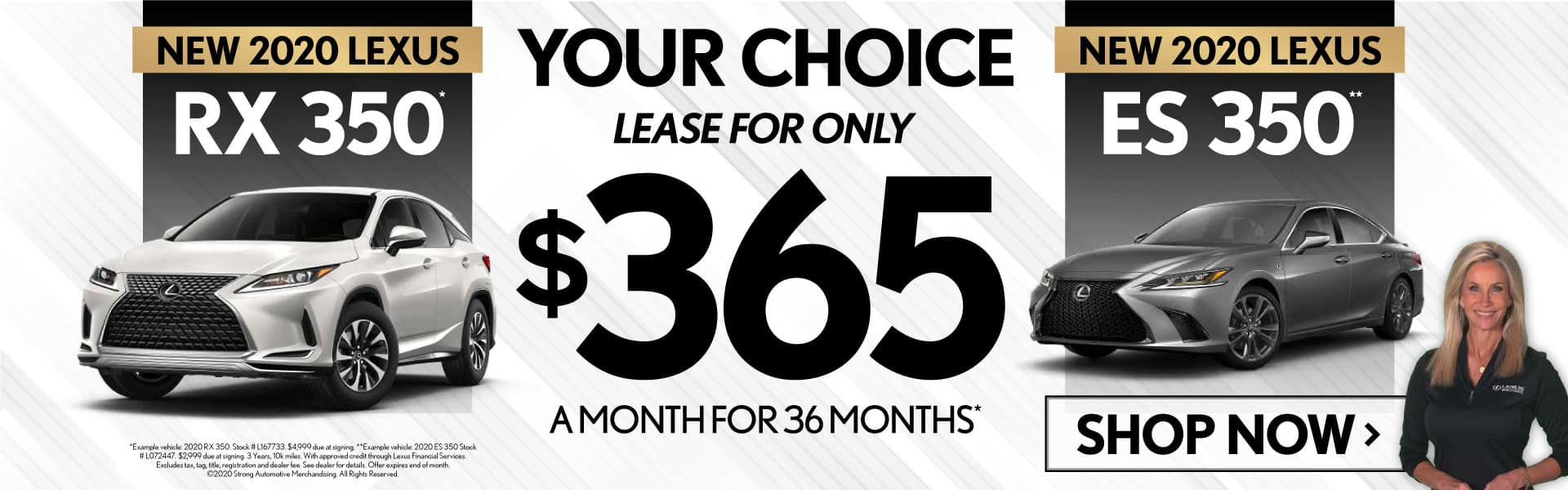 Your Choice: New 2020 Lexus RX 350 or ES 350 only $365/mo. Shop Now.