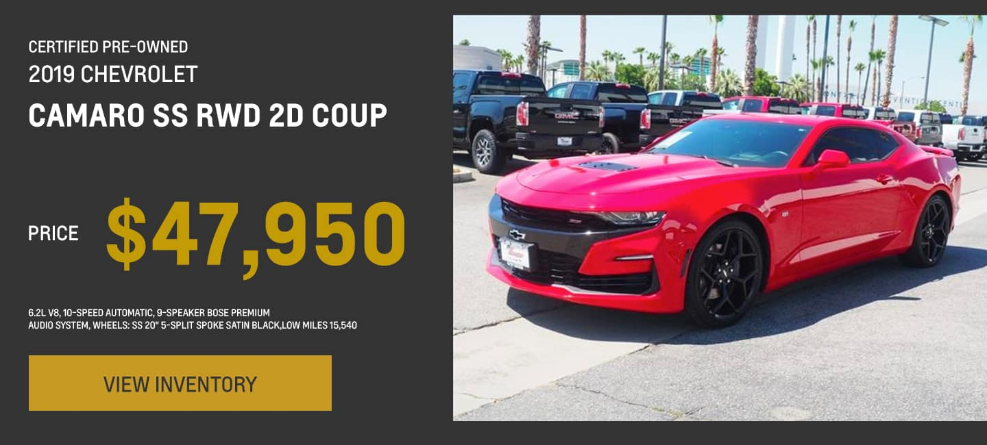 Certified Pre-Owned 2019 Chevrolet Camero SS RWD 2D Coup, 6.2L V8, 10-Speed Automatic, 9-Speaker Bose Premium Audio System, wheels: SS 20