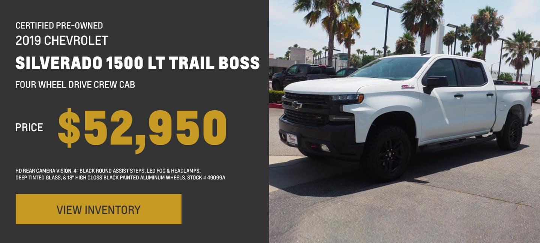 Certified Pre-Owned 2019 Chevrolet Silverado 1500 LT Trail Boss Four Wheel Drive Crew Cab, HD Rear Camera Vision, 4