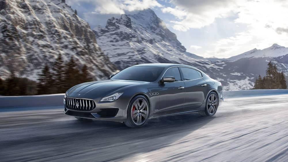 2019 Maserati Quattroporte among snowy mountains