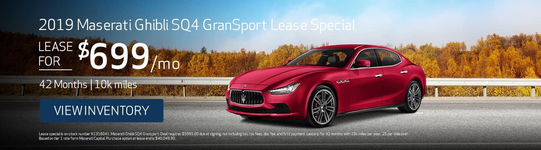 2019 Maserati Ghibli SQ4 GranSport Lease Special
