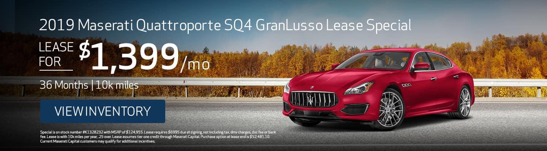 Sept 2019 Maserati Quattroporte SQ4 GranLusso Lease Special