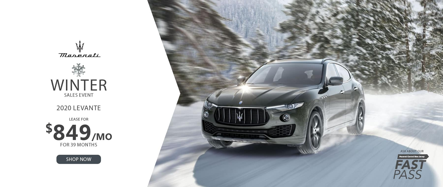 Silver Maserati Levante driving in snow