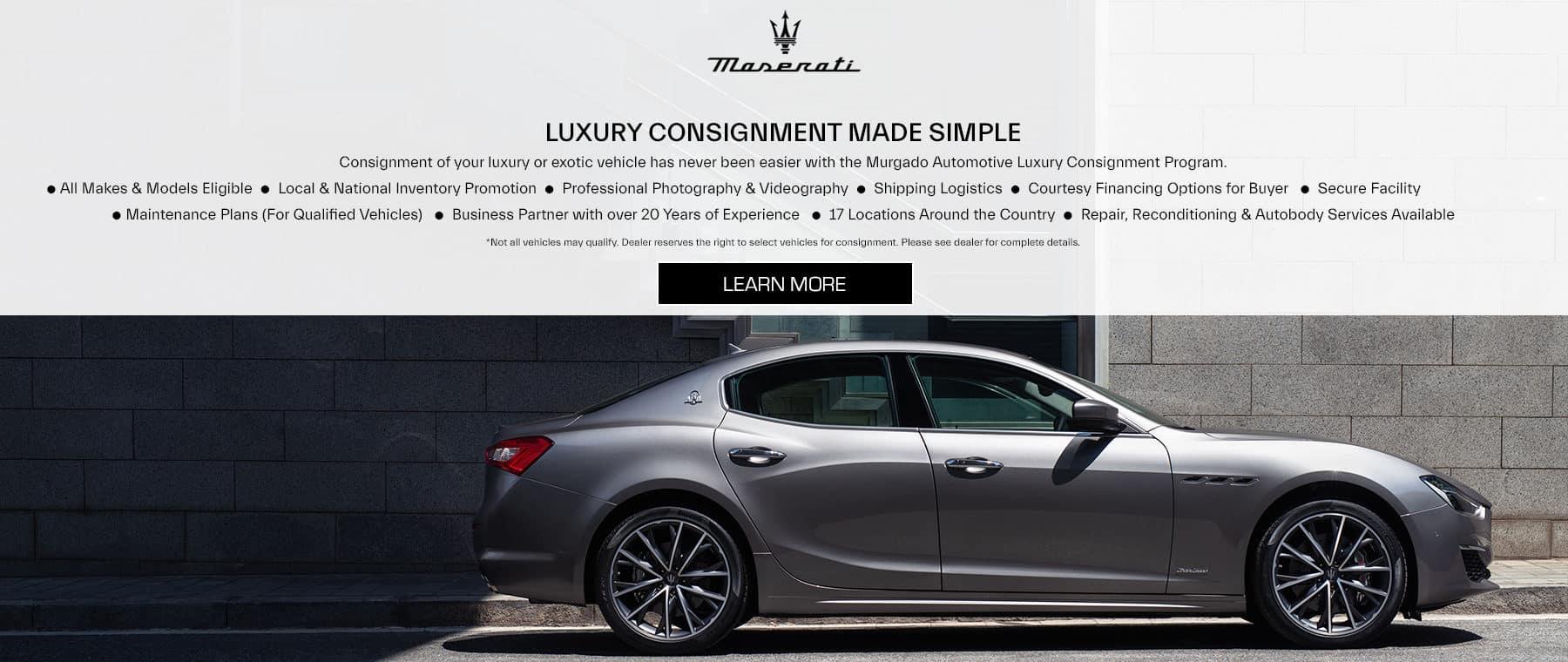 Luxury Consignment gray Maserati sedan