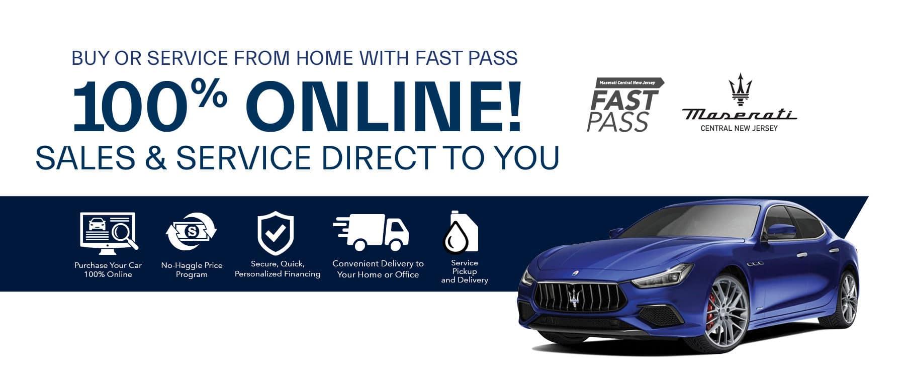 blue new Maserati 100% ONLINE Fast Pass
