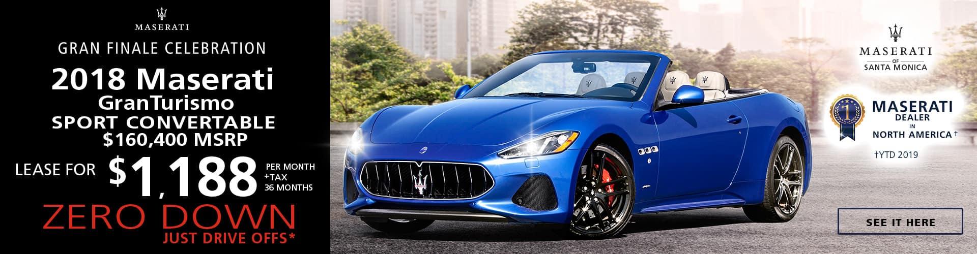 2018 Maserati GranTurismo Convertible Special Offer