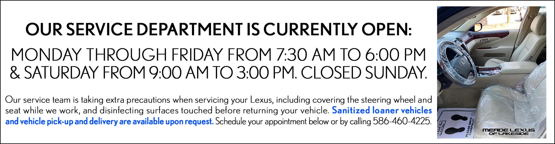 Service Hours for Meade Lexus of Lakeside
