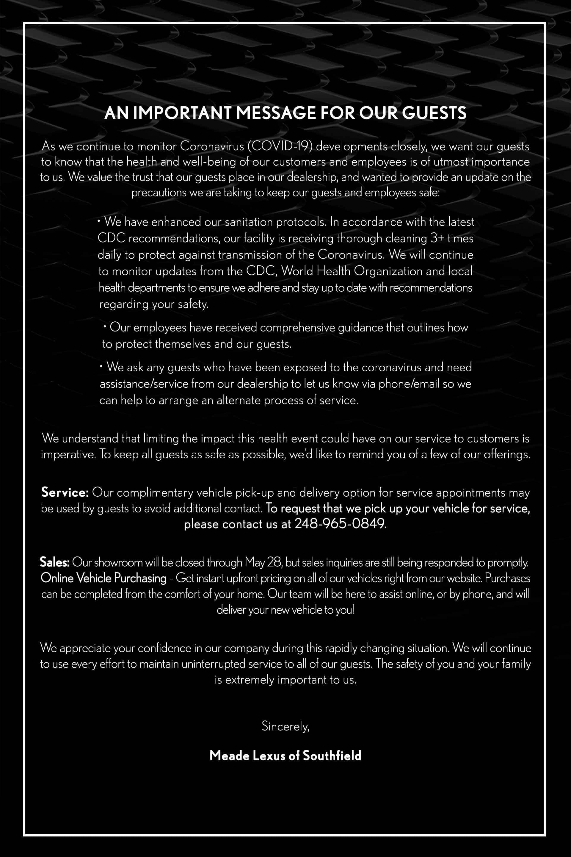 Coronavirus Update Meade Lexus of Southfield