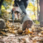 Hiker woman with trekking sticks climbs steep on mountain trail