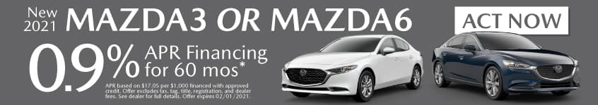 New 2021 Mazda3 or Mazda6 - 0.9% APR for 60 months - Act Now