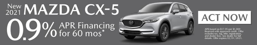 New 2021 Mazda CX-5 - 0.9% apr for 60 months - Act Now