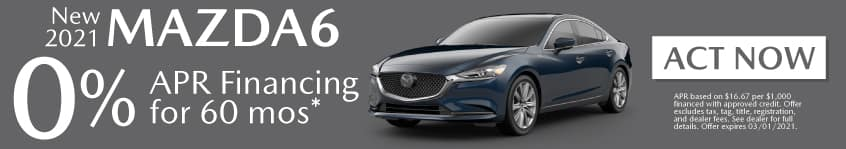 New 2021 Mazda6 - 0% apr for 60 months - Act Now