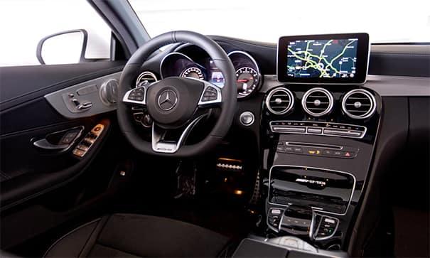 mercedes-benz steering wheel and interior cabin