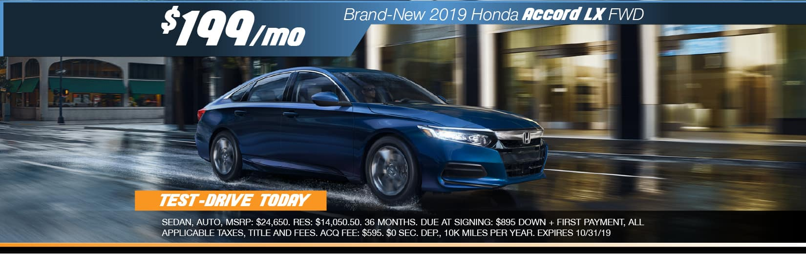 2019 Honda Accord LX FWD Lease for $199 a month for 36 months
