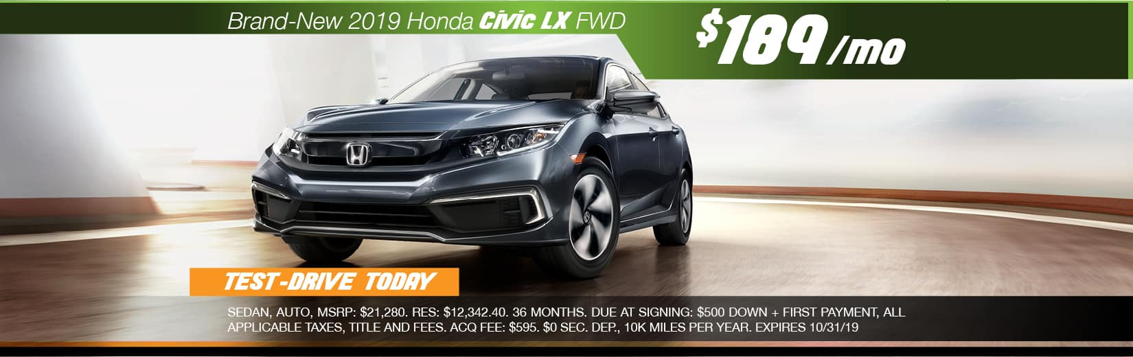 2019 Honda Civic LX FWD Lease for $189 a month for 36 months