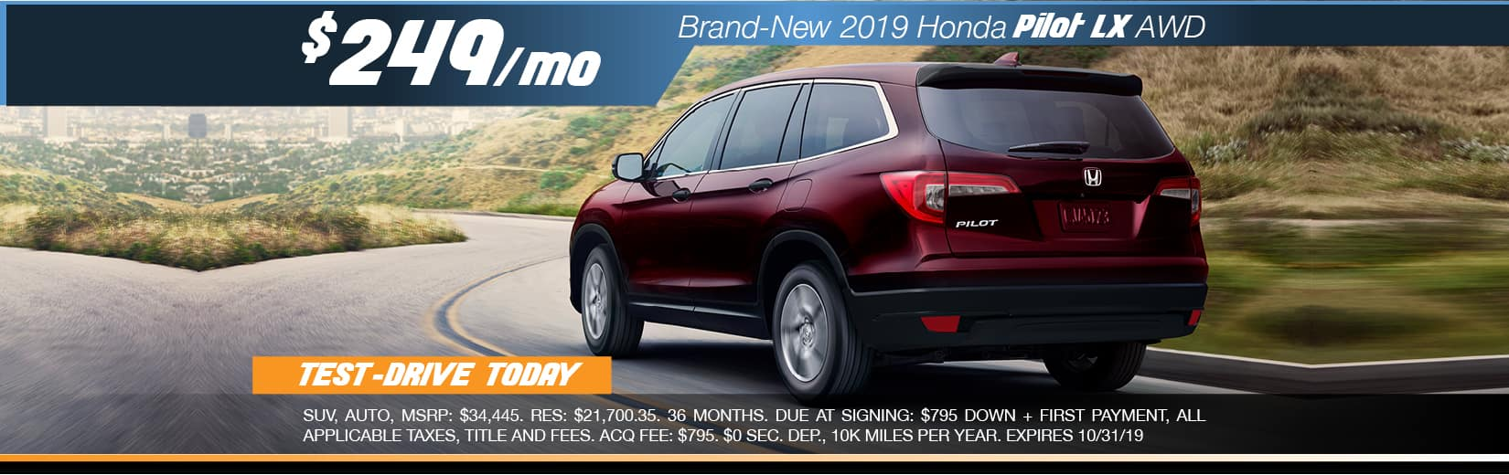 2019 Honda Pilot LX FWD Lease for $249 a month for 36 months