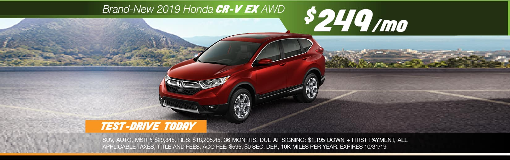 2019 Honda CR-V EX AWD Lease for $249 a month for 36 months