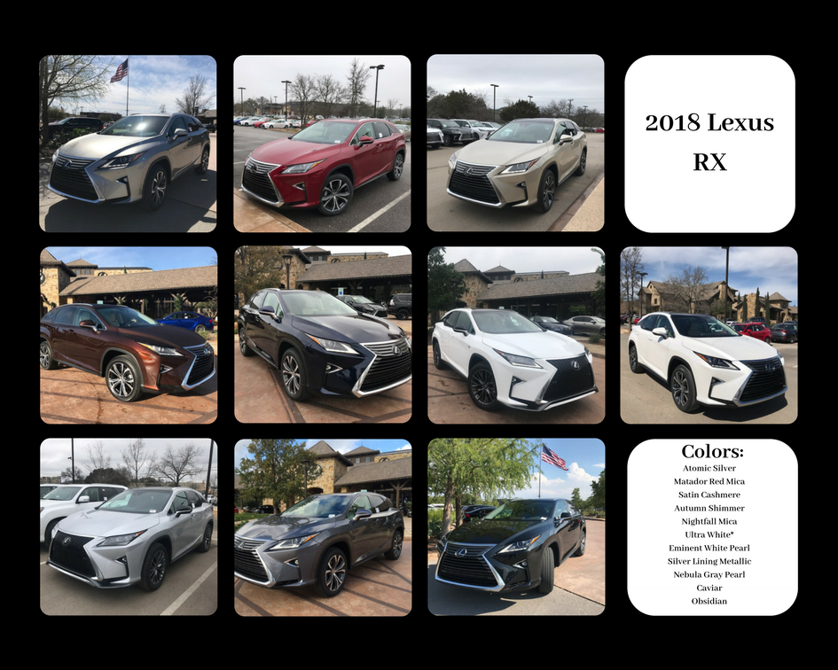 Lexus RX color chart