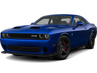 Blue Dodge Challenger- angled to the left