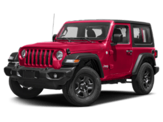 Red Jeep Wrangler - angled to the left