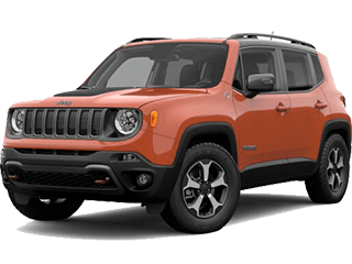 Orange Jeep Renegade - angled to the left