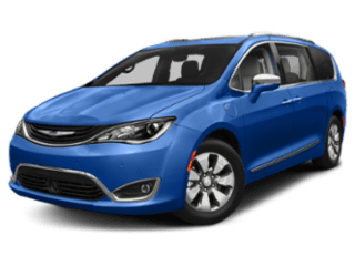 Blue Chrysler Pacifica hybrid - angled to the left