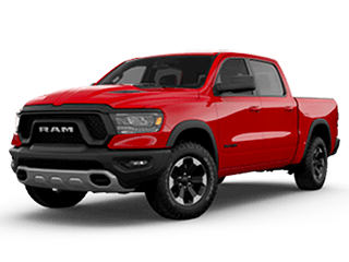 red all new ram 1500 - angled to the left