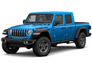 Blue Jeep Gladiator - angled to the left