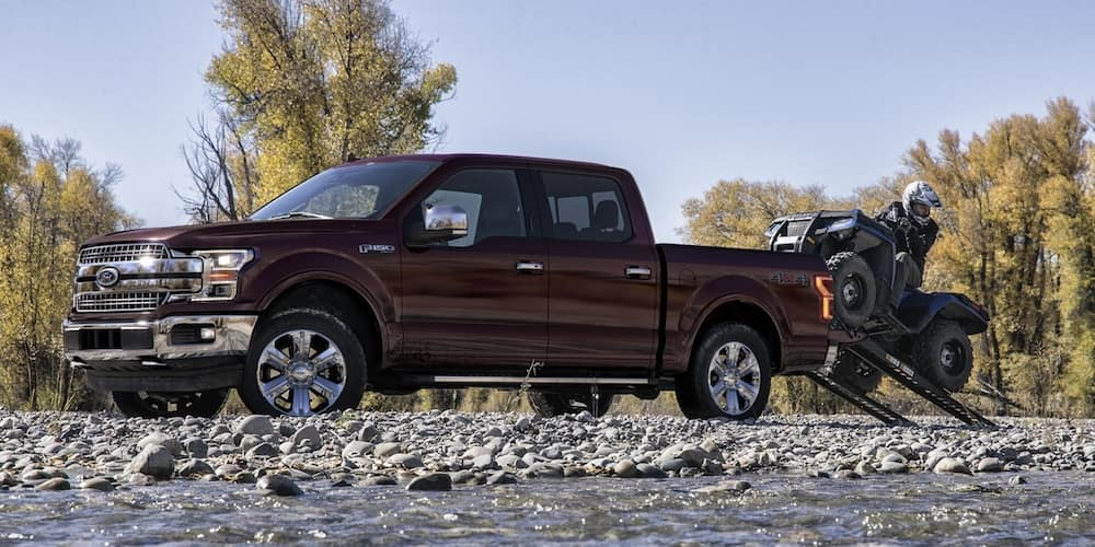Maroon 2020 Ford F-150 on Rocks