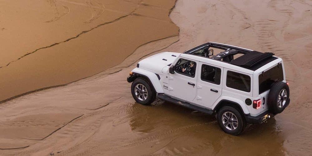White 2020 Jeep Wrangler Parked on Beach