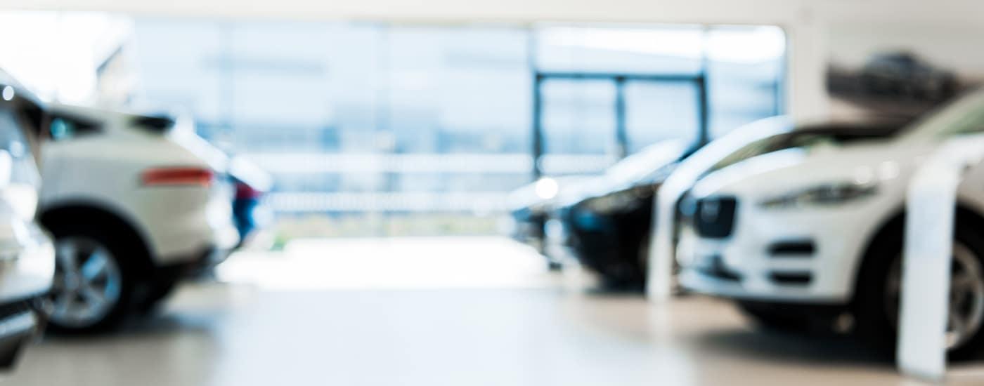 blurred car showroom