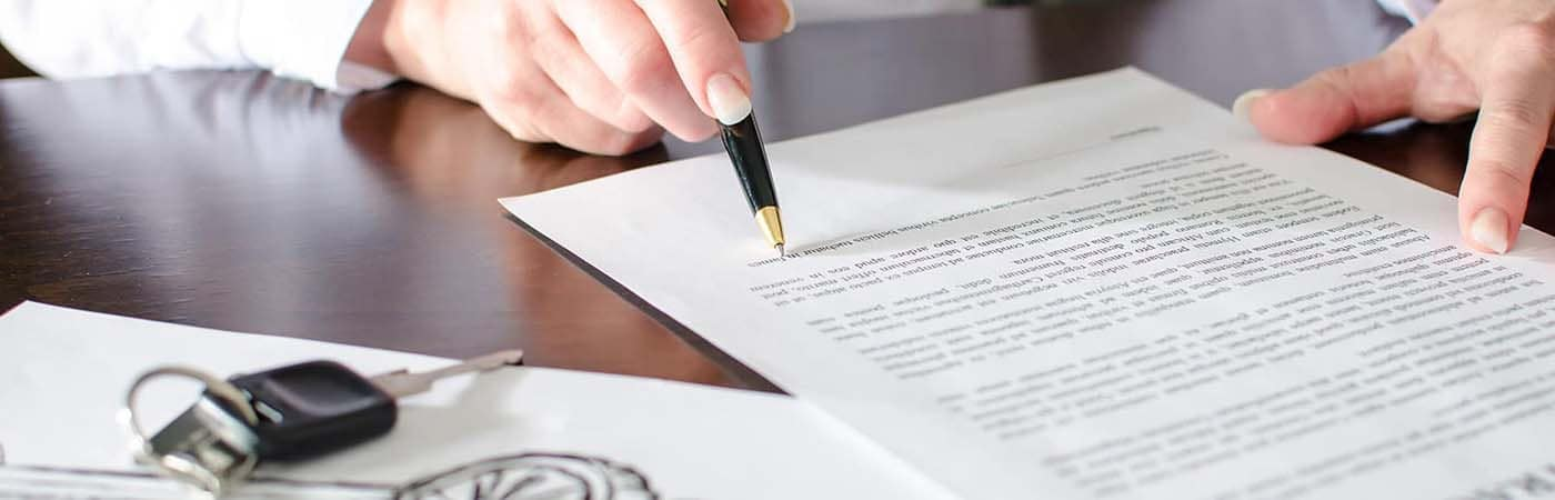 Signing a lease document