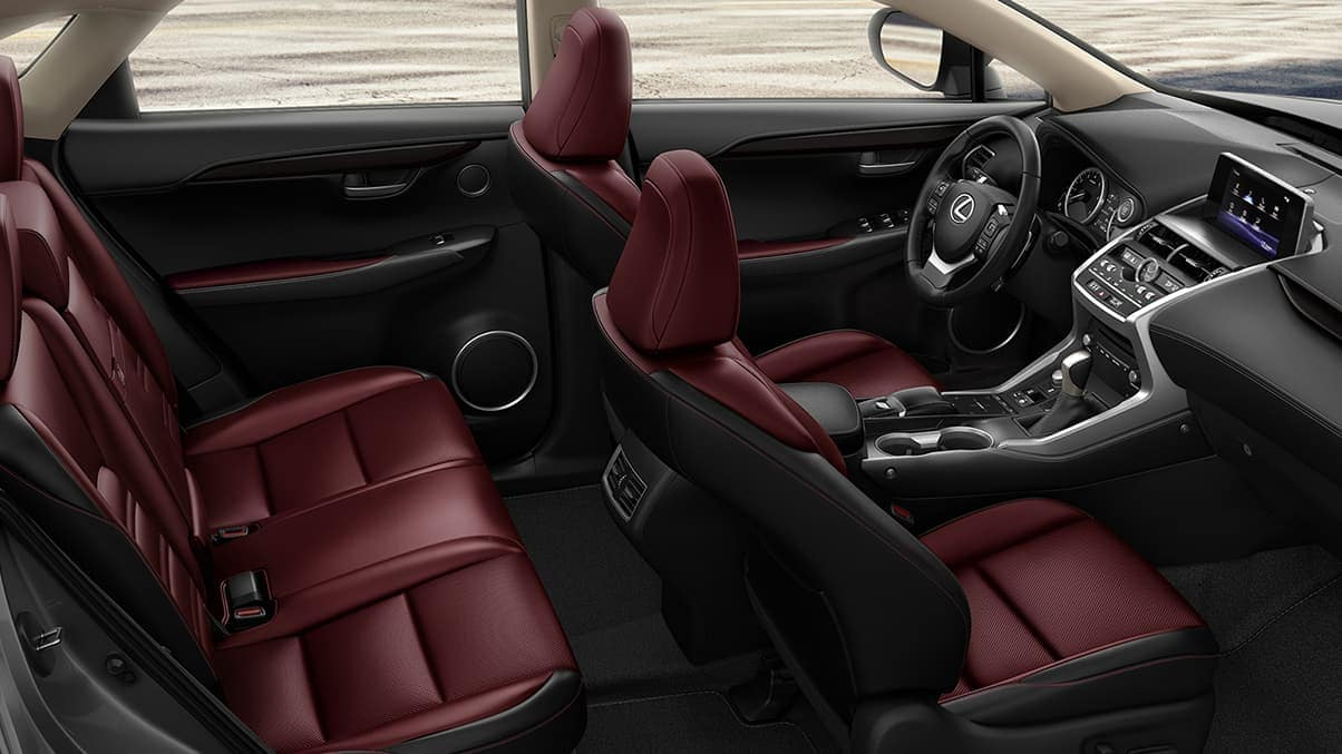Lexus NX interior in red and black leather