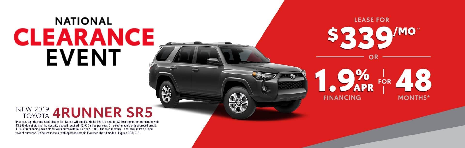 Homepage Aug Offer Toyota 4Runner
