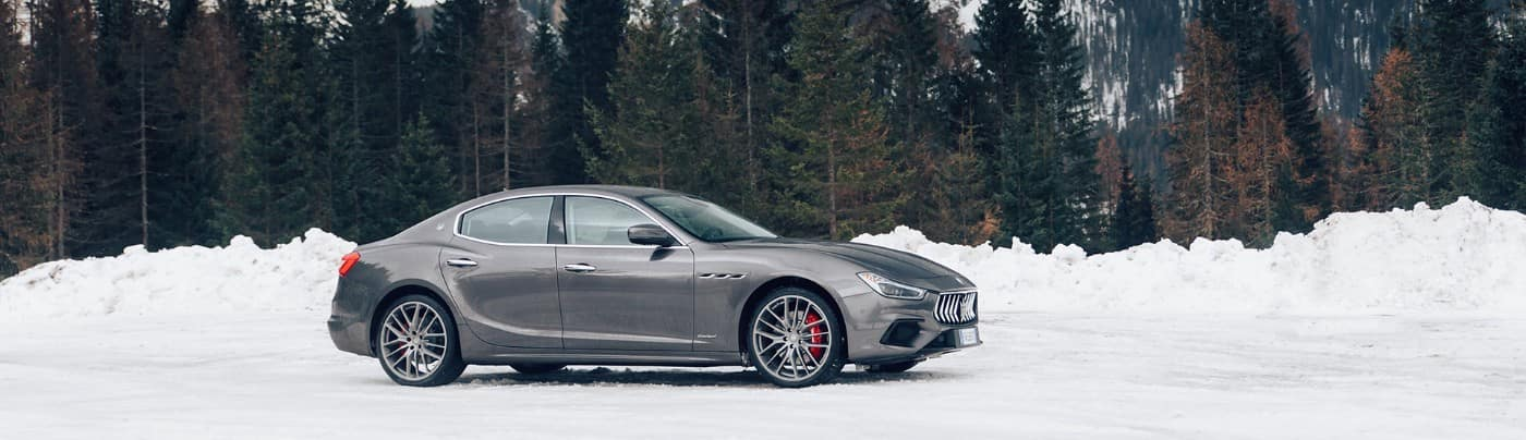 A 2020 Maserati Ghibli parked in snow