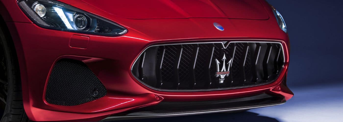 Close up of the front end of a 2020 Maserati Granturismo